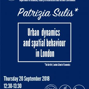 SPS Seminar: Patrizia Sulis - Urban Dynamics and Spatial Behaviour in London (20 Sept, 13:30)